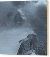Mont Blanc Storm Wood Print