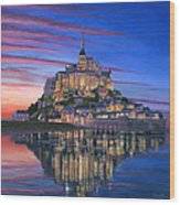 Mont Saint-michel Soir Wood Print by Richard Harpum