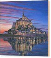 Mont Saint-michel Soir Wood Print by Richard Harpum