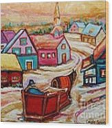 Mont St.hilaire Going Towards The Village Quebec Winter Landscape Paintings Carole Spandau Wood Print