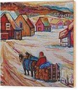 Mont St.hilaire Winter Scene Logger Heading Home To Quebec Village Winter Landscape Carole Spandau Wood Print