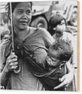 Montagnard Woman With Umbrella And Child Wood Print