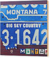 Montana License Plate Map Wood Print by Design Turnpike