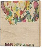 Montana Map Vintage Watercolor Wood Print