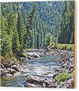 Montana River And Trees Wood Print