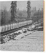 Montana Train Wood Print by Paul Bartoszek