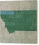 Montana Word Art State Map On Canvas Wood Print