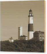 Montauk Point Light In Sepia Wood Print