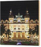 Monte Carlo Casino At Night Wood Print