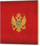 Montenegro Flag Vintage Distressed Finish Wood Print