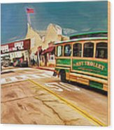 Monterey And Cable Car Bus Wood Print