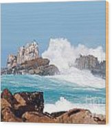 Monterey Bay Waves Wood Print by Artist and Photographer Laura Wrede