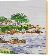Monterey- California Sketchbook Project Wood Print by Irina Sztukowski