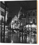 Montmartre Black And White W  Wood Print