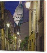 Montmartre Street And Sacre Coeur Wood Print