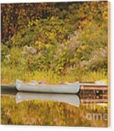 Montpelier Canoe Wood Print by Deborah Benoit