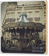 Montpellier Carousel Wood Print by Victoria Herrera