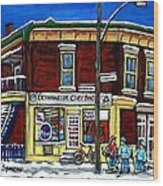 Montreal Art Hockey Paintings Chez Bert Depanneur The Pointe Verdun City Scene Carole Spandau  Wood Print