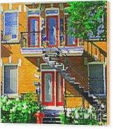 Montreal Art Seeing Red Verdun Wooden Doors And Fire Hydrant Triplex City Scene Carole Spandau Wood Print