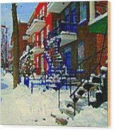 Montreal Art Streets Of Verdun Winter Scenes Winding Staircases Snowscenes Carole Spandau Wood Print