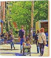 Montreal Art Summer Cafe Scene Rue Laurier Family Day Wagon Ride City Scene Art By Carole Spandau Wood Print