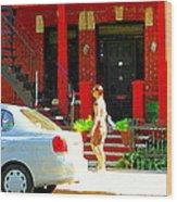 Montreal Art Summer Stroll On A Sunny Morning Colorful Street Verdun City Scene Carole Spandau Wood Print