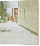 Montreal Art Urban Winter City Scene Painting Verdun Laneway After  Heavy December Snowfall Wood Print