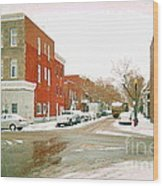 Montreal Art Winter Street Scene Painting The Point Psc Rowhouses In January Snow Cspandau Wood Print