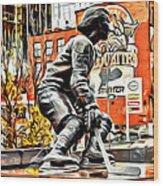 Montreal Hockey Lady Wood Print