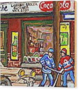 Montreal Hockey Paintings At The Corner Depanneur - Piche's Grocery Goosevillage Psc Griffintown  Wood Print