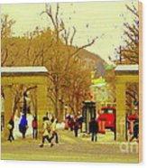 Montreal Memories Mcgill Students On Campus Roddick Gates Montreal Collectible Art Prints C Spandau Wood Print