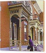 Montreal Memories Pretty Plateau Porches Lady Climbs Front Steps By Bricks Balconies Home Cspandau   Wood Print