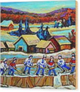 Montreal Memories Rink Hockey In The Country Hockey Our National Pastime Carole Spandau Paintings Wood Print
