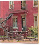 Montreal Memories The Old Neighborhood Timeless Triplex With Spiral Staircase City Scene C Spandau  Wood Print
