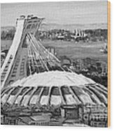 Montreal Olympic Stadium And Olympic Park-home To Biodome And Velodrome-montreal In Black And White Wood Print
