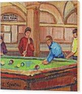 Montreal Pool Room Wood Print