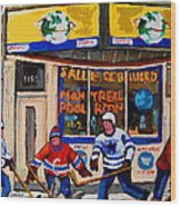 Montreal Pool Room City Scene With Hockey Wood Print