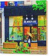 Montreal Rainy Day  Window Shopping Girl With Paisley Umbrella Spa Molinard Laurier  Carole Spandau Wood Print