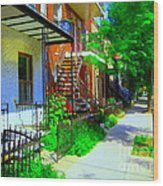 Montreal Stairs Shady Streets Winding Staircases In Balconville Art Of Verdun Scenes Carole Spandau Wood Print