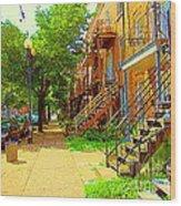 Montreal Stairs Winding Staircases And Sunny Tree Lined Sidewalks Verdun Scenes Carole Spandau  Wood Print