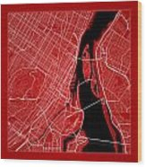 Montreal Street Map - Montreal Canada Road Map Art On Color Wood Print