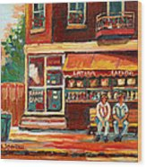 Montreal Street Scene Paintings Wood Print