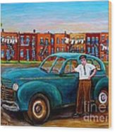 Montreal Taxi Driver 1940 Cab Vintage Car Montreal Memories Row Houses City Scenes Carole Spandau Wood Print