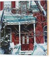 Montreal The Esplanade In Winter Wood Print