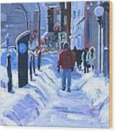 Montreal Winter Downtown Wood Print