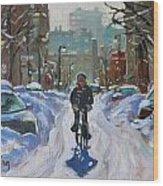 Montreal Winter Fastest Transportation Wood Print