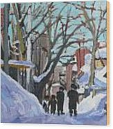 Montreal Winter Mile End Shabbat Wood Print