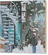 Montreal Winter Scene Mile End Wood Print