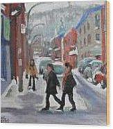 Montreal Winter Scene Mont Royal Wood Print