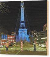 Monument Circle Indianapolis At Night Wood Print